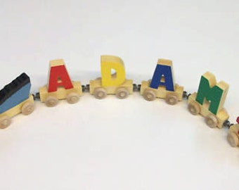 5 Piece any cars total   you chose     Hand crafted wooden name train