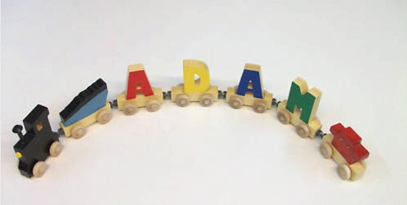 6 Piece any cars total   you chose     Hand crafted wooden name train