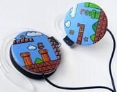 Super Mario headphones earphones green sky blue brown
