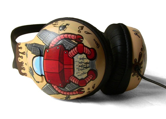 Candy Invaders Hand Painted Headphones in yummy red and chocolate shades