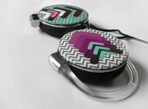 Headphones earphones geometric arrow chevron unique Purple Cyan