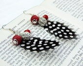 Bead and feather earrings, red, fabric, paper and glass beads
