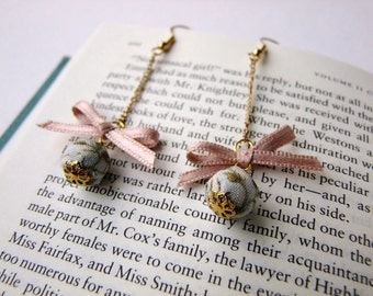 Bow and bead earrings, pale blue fabric covered bead dusky pink satin ribbon bow
