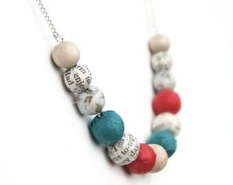 Red and turquoise beaded necklace, fabric covered beads