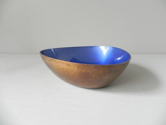 Vintage Copper Enamel Dish, Bowl, Tray - Swedish, Scandinavian
