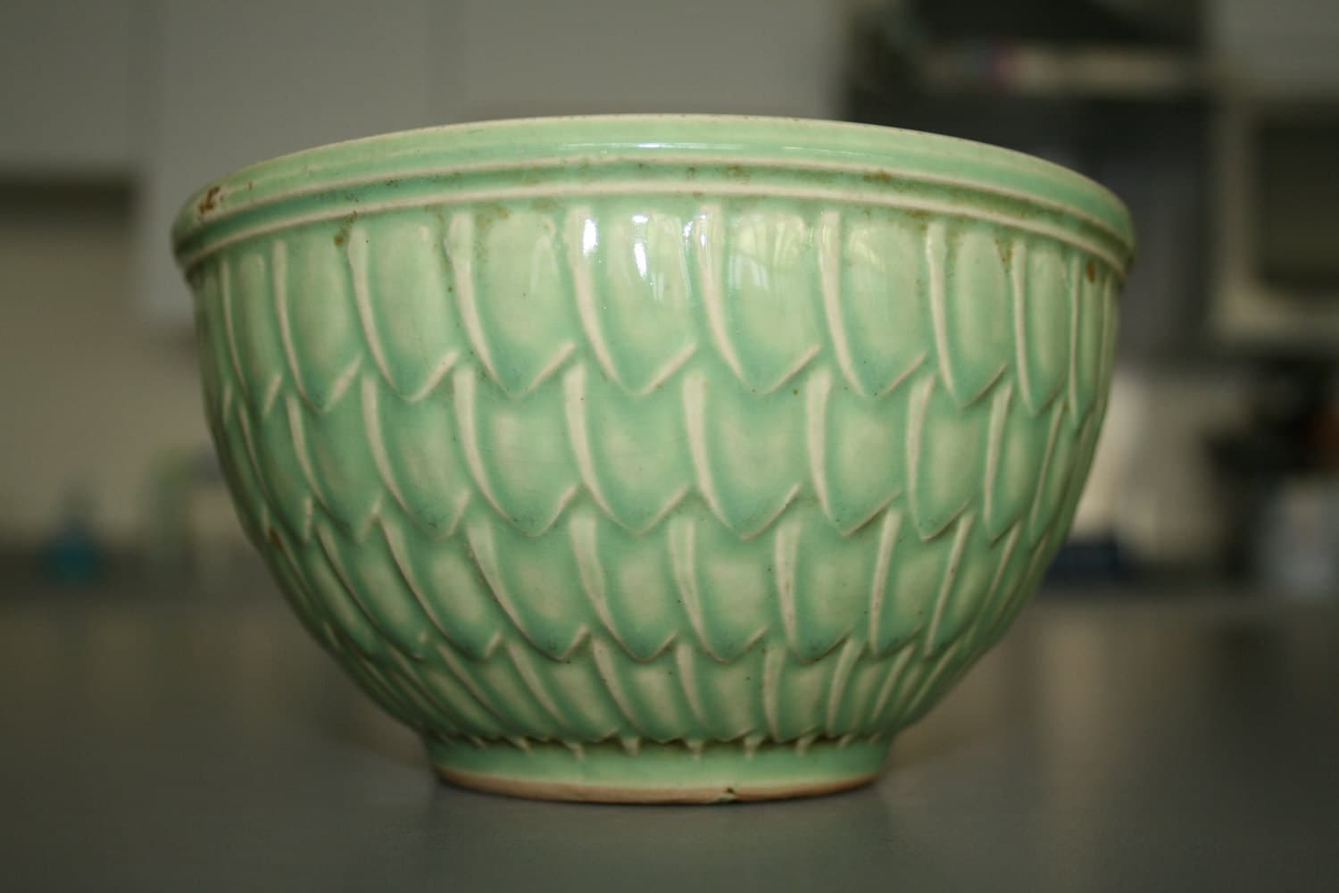 Vintage Mccoy Bowl Green 6 20th Century Fishscale Or