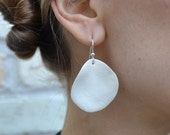 SIGNATURE PETAL COLLECTION: White Ceramic Petal Earrings on Sterling Silver / Length - Short / Petal Size - Medium