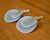 NEW Short Purple Stone Ceramic Layered Petal Earrings