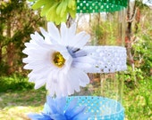 Gerbera Daisy Flower Crochet Headband, in Blue, White and Green, Fits Infant - Adult
