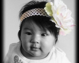 White Flower Crochet Headband with Pearl Accent, Fits Infant - Adult