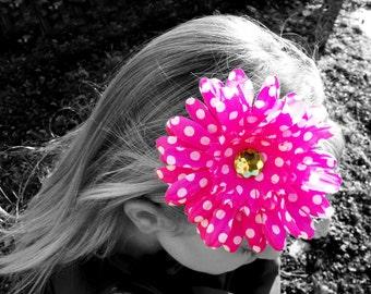 Hot Pink Polka Dot Gerbera Daisy Flower Headband