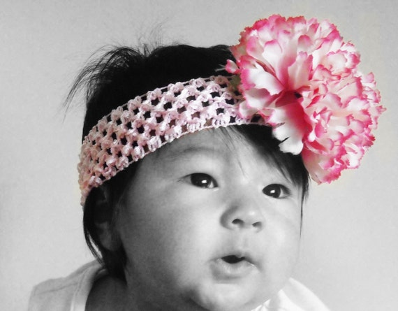 Pink Carnation Flower Crochet Headband , Fits Infant - Adult