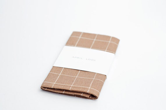 Beige linen pocket square