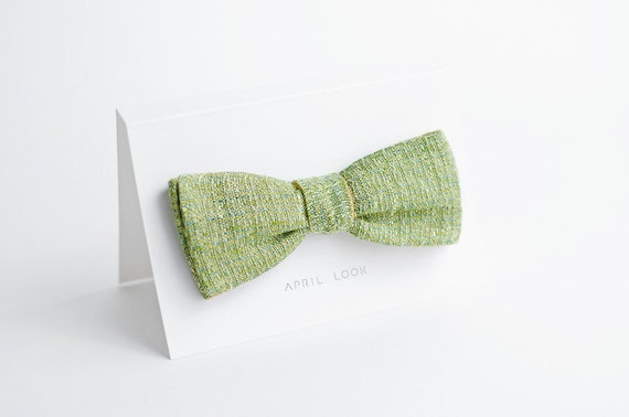 Lime green bow tie for men - double sided