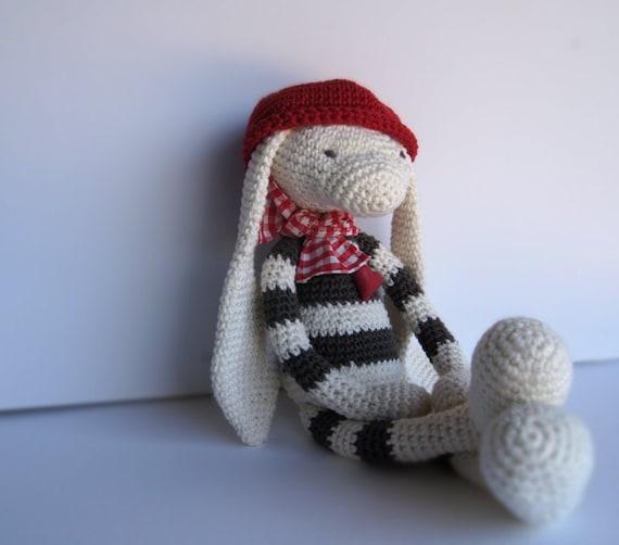 Amigurumi Striped Bunny in Ecru and Taupe