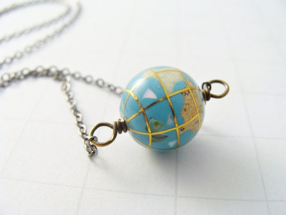 Vintage. Globe. Mixed Metal. Necklace