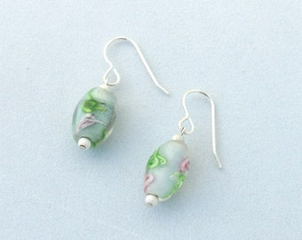 Vintage Venetian Glass and Silver Earrings