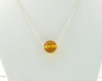 Citrine Briolette and Sterling Silver Necklace