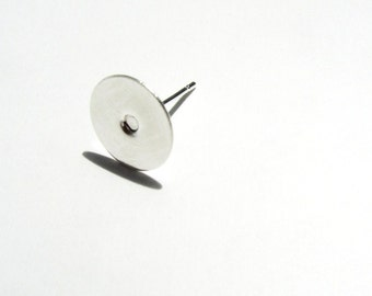 Silver Earring Studs with Round Flat Pad Ear Components 200 Pieces 13x10mm