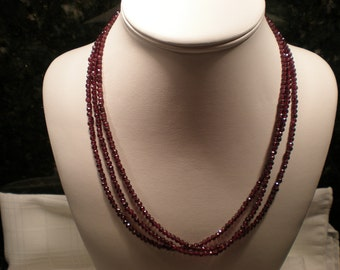CHRISTMAS RED,  Oh my, look at this gorgeous rich Red multiple-strand faceted garnet necklace healing January Birthday Free Shipping
