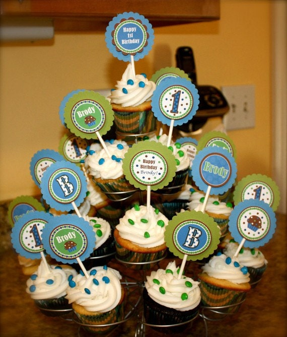Personalized Cupcake Toppers - Cupcake Theme