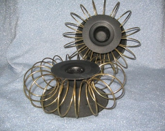 SALE 1960's MID-CENTURY Metal Spiral Modernist Candle Holders