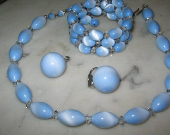 1950's VINTAGE BLUE MOONGLOW Necklace, Bracelet, Earrings Set