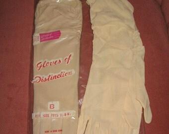 TWO PAIRS VINTAGE Gloves Beige Nylon Retro 1950's