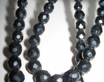 STEEL GREY CRYSTAL Two Strand Glass Bead Necklace Vintage 1950's
