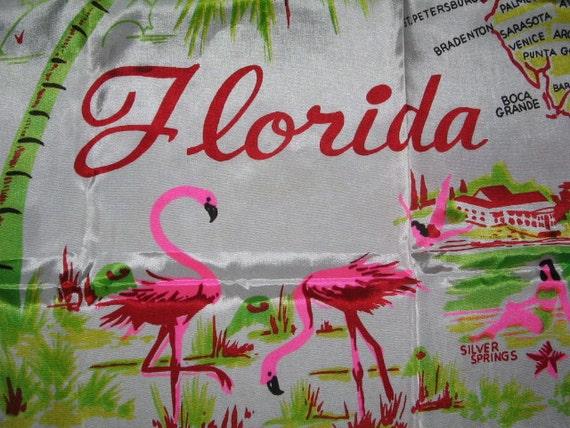 HUGE FLORIDA SOUVENIR Silky Scarf Retro 1940's, 50's