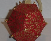 Red and Gold Holly Dodecahedron Polyhedron Ornament