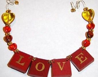 LOVE - Red Vintage Game Tile Ornament
