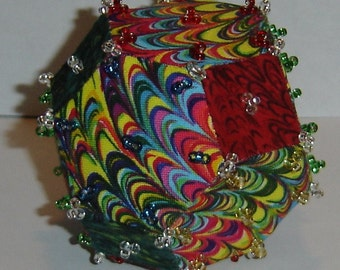 Psychedelic Rainbow Truncated Octahedron Polyhedron Ornament
