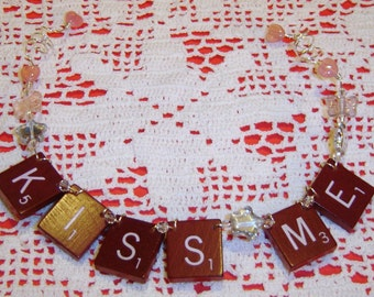 Kiss Me - Scrabble Tile Ornament - Dark Red