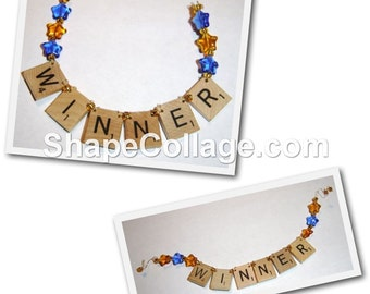 WINNER Scrabble Tile Ornaments - Choice of Two