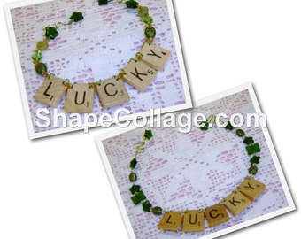 LUCKY Scrabble Tile Ornaments - Choice of Two