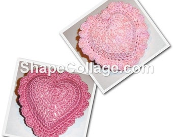 Pink Crocheted Heart Pincushions - Choice of Two