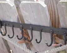 Hook rack, 7 hooks, handforged