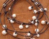 Pearl Necklace / Wrap Bracelet Leather - Pussy Willows