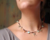 Stone Leather Choker Necklace - Winter From Fall Leaves and Branches