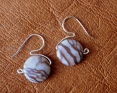 Silver Stone Earring Cocoa Brown Jasper French Hooks - Murky Bubbles