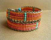Hemp Loom Beaded Bracelet with Metal Charm - Dusk Till Dawn