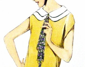 Dress vintage sewing pattern from the 1920s, excellent detailing in the collar and pleats. A timeless classic