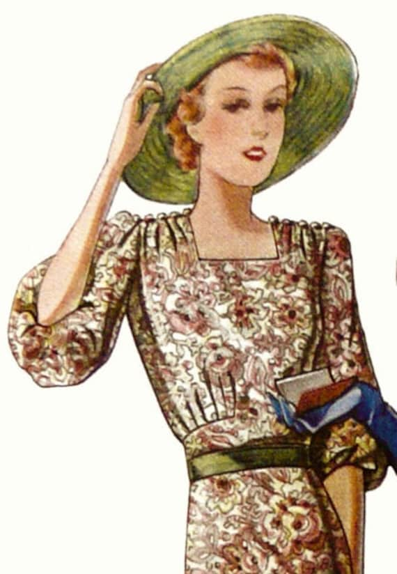 1930-40s dress pattern with decorated puff sleeves and shoulders.Spring time.
