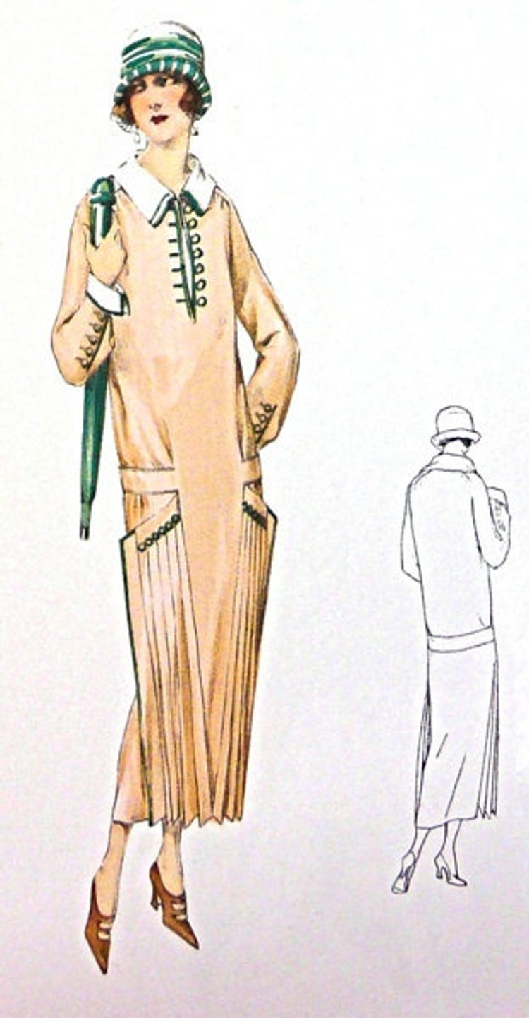 1920s Vintage Pleated Dress Sewing Pattern By