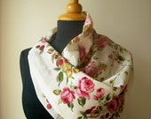 Vintage 1960s floral scarf with roses on cream background
