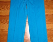 Vintage Women's Elastic Waist Blue Polyester pants from the 1970s