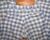 Vintage 1970s Cuffed Blue Plaid Permanent Press Pants 30 x 27