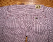 Vintage 1970s Lee Purple Houndstooth Bell Bottom pants size 26 x 30 Talon 42 Zipper Union Made in the USA