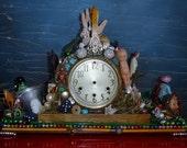 Diz clock art mixed media outsider art assemblage found objects from Diz has neat stuff